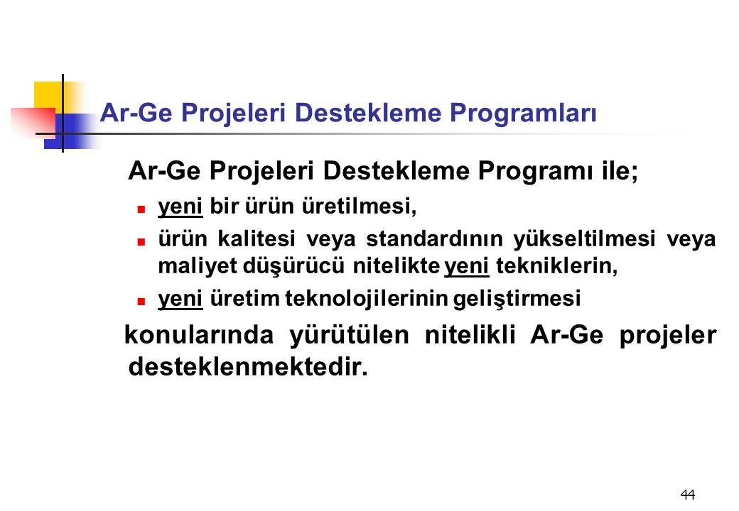Ar-Ge Projeleri Destekleme Programları