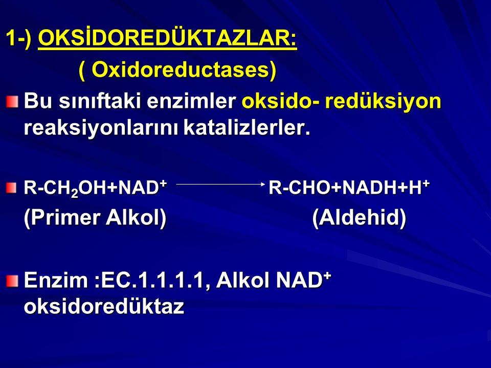 1-) OKSİDOREDÜKTAZLAR: ( Oxidoreductases)