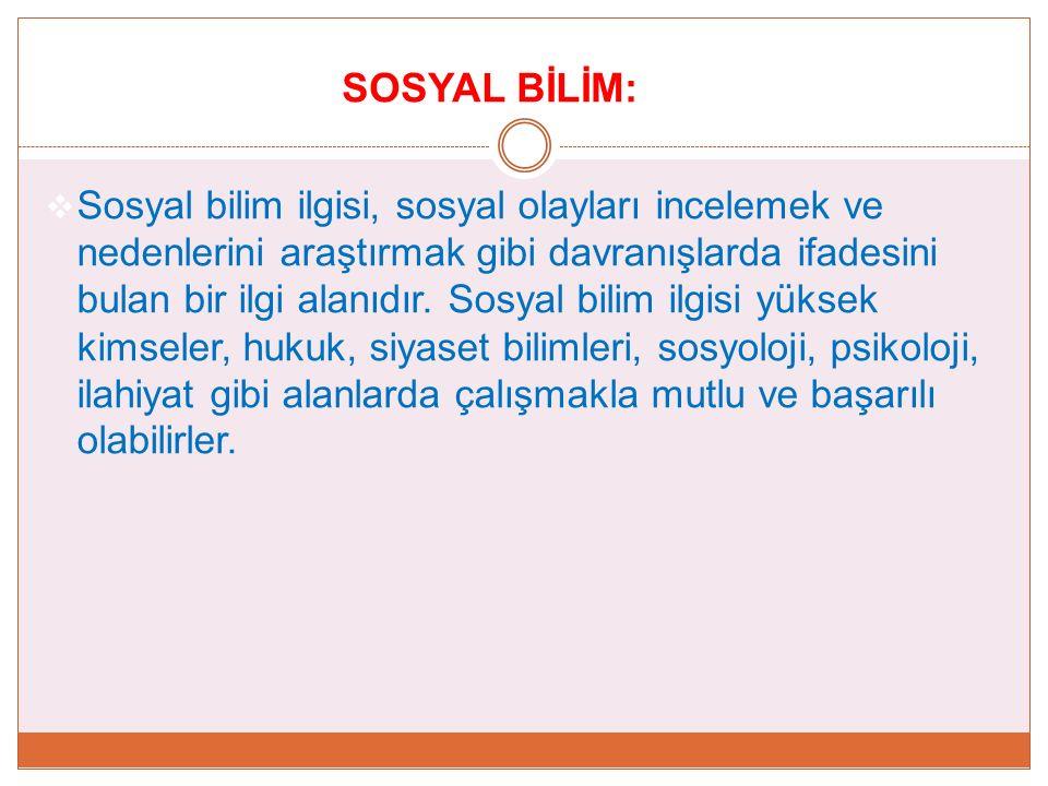 SOSYAL BİLİM: