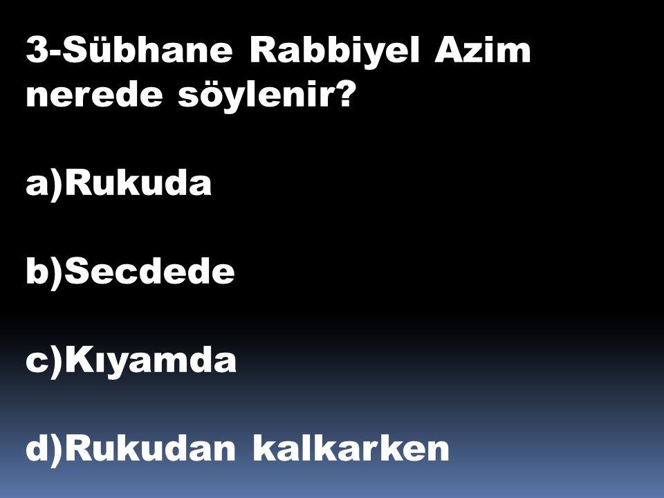 3-Sübhane Rabbiyel Azim nerede söylenir