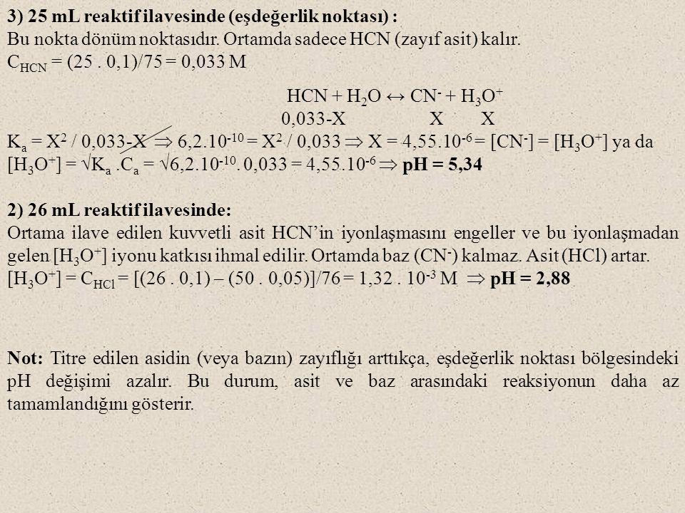 3) 25 mL reaktif ilavesinde (eşdeğerlik noktası) :