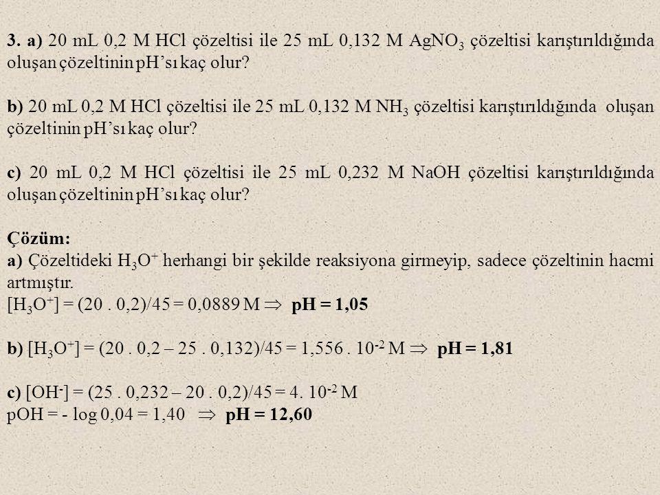 3. a) 20 mL 0,2 M HCl çözeltisi ile 25 mL 0,132 M AgNO3 çözeltisi karıştırıldığında oluşan çözeltinin pH'sı kaç olur