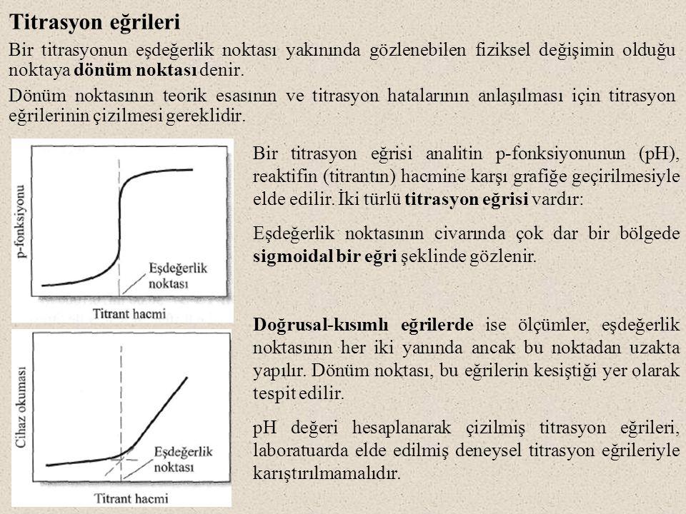 Titrasyon eğrileri Bir titrasyonun eşdeğerlik noktası yakınında gözlenebilen fiziksel değişimin olduğu noktaya dönüm noktası denir.