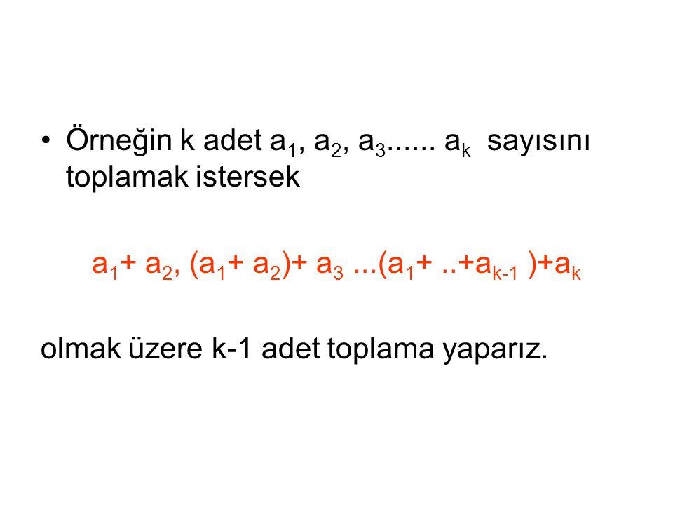 a1+ a2, (a1+ a2)+ a3 ...(a1+ ..+ak-1 )+ak