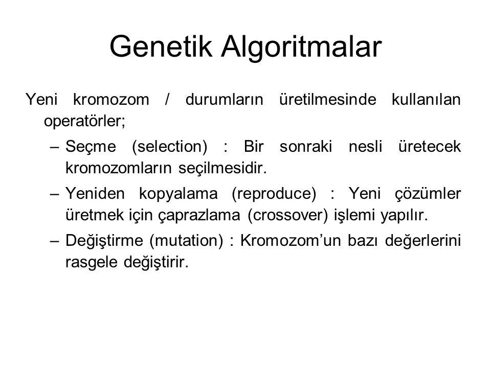 Genetik Algoritmalar Yeni kromozom / durumların üretilmesinde kullanılan operatörler;