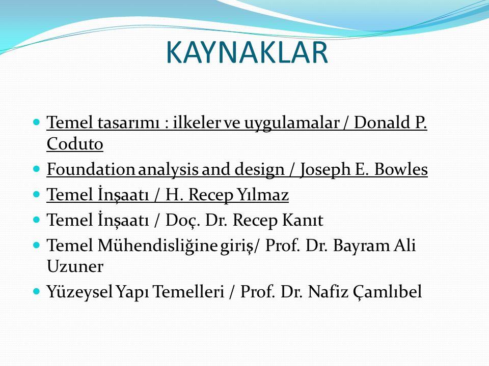 KAYNAKLAR Temel tasarımı : ilkeler ve uygulamalar / Donald P. Coduto