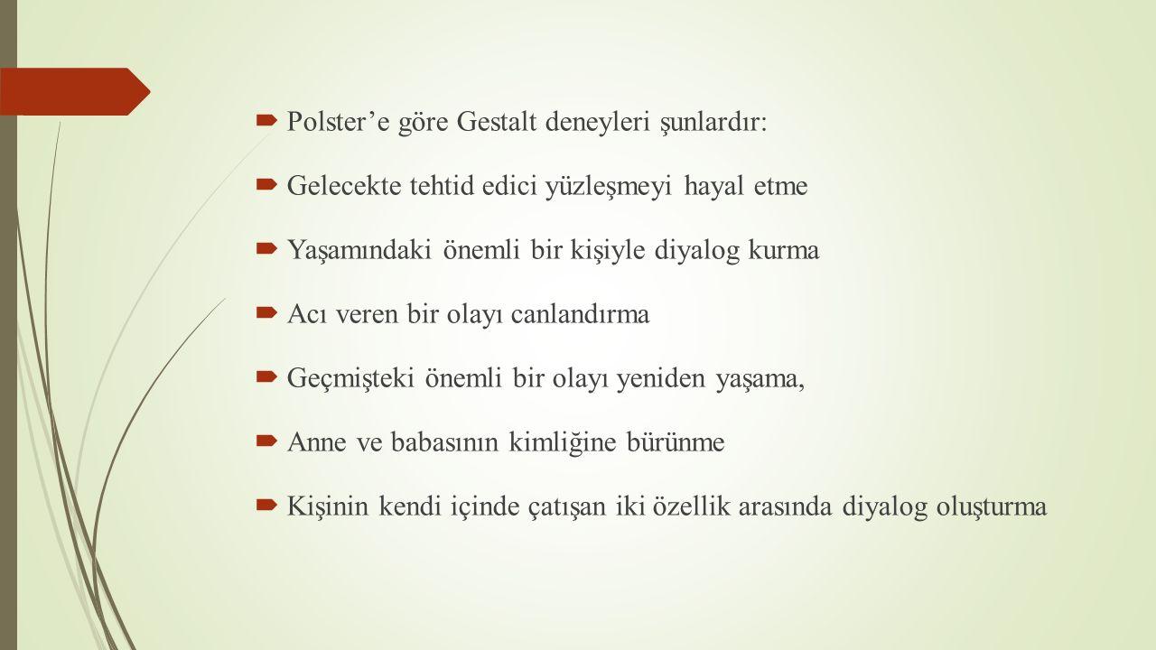 Polster'e göre Gestalt deneyleri şunlardır: