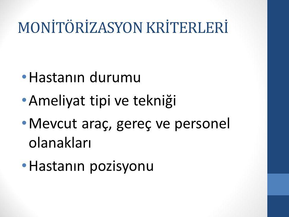 MONİTÖRİZASYON KRİTERLERİ
