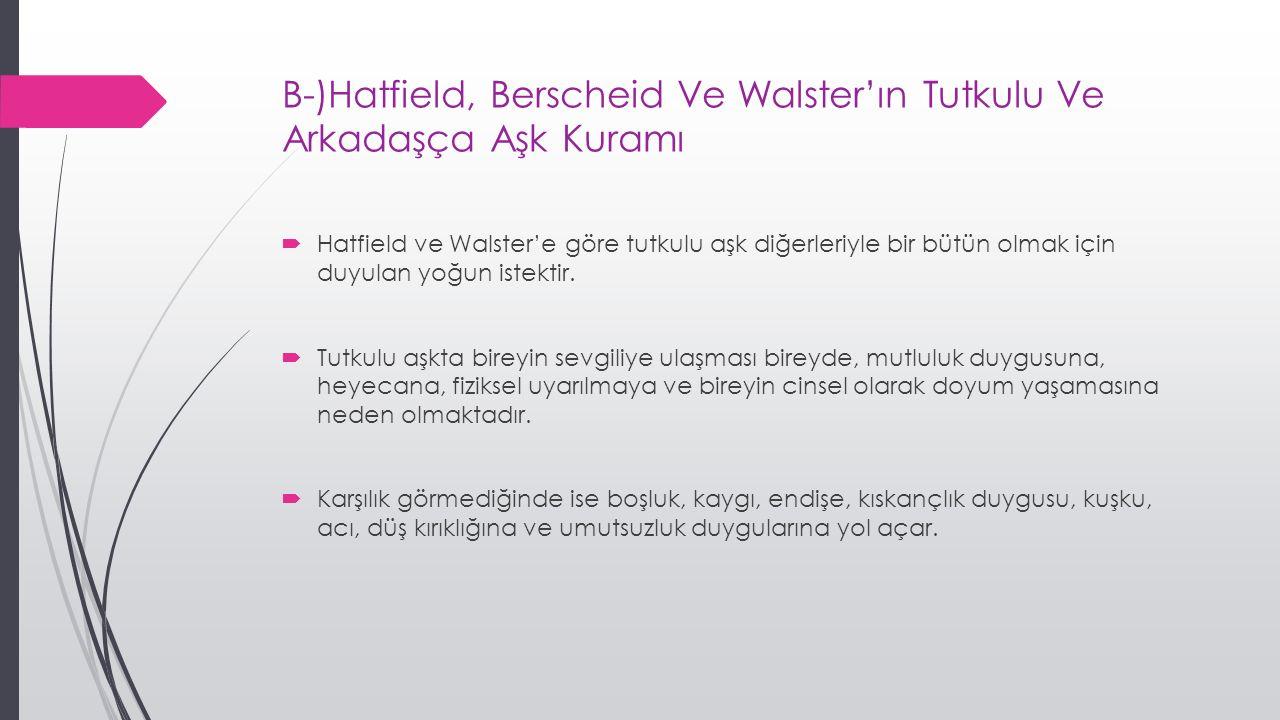 B-)Hatfield, Berscheid Ve Walster'ın Tutkulu Ve Arkadaşça Aşk Kuramı