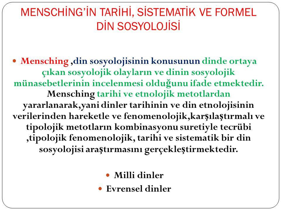 MENSCHİNG'İN TARİHİ, SİSTEMATİK VE FORMEL DİN SOSYOLOJİSİ