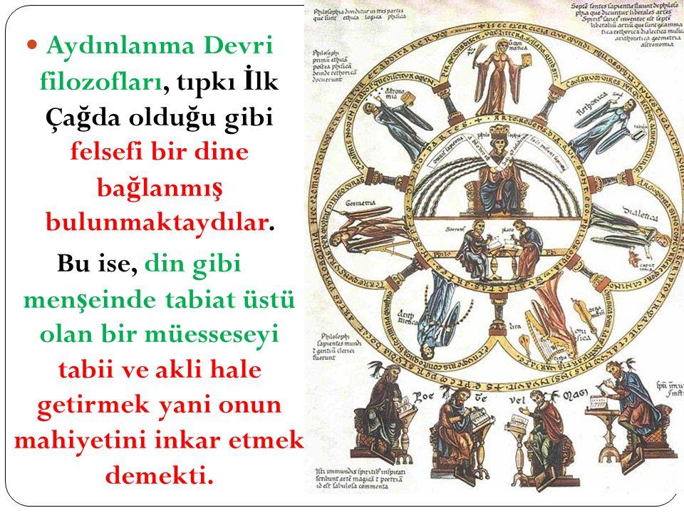 Aydınlanma Devri filozofları, tıpkı İlk Çağda olduğu gibi felsefi bir dine bağlanmış bulunmaktaydılar.