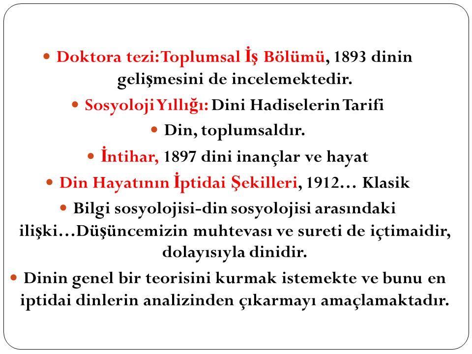 Sosyoloji Yıllığı: Dini Hadiselerin Tarifi Din, toplumsaldır.