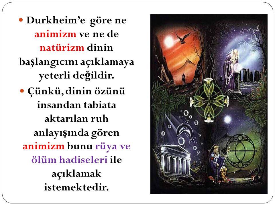 Durkheim'e göre ne animizm ve ne de natürizm dinin başlangıcını açıklamaya yeterli değildir.