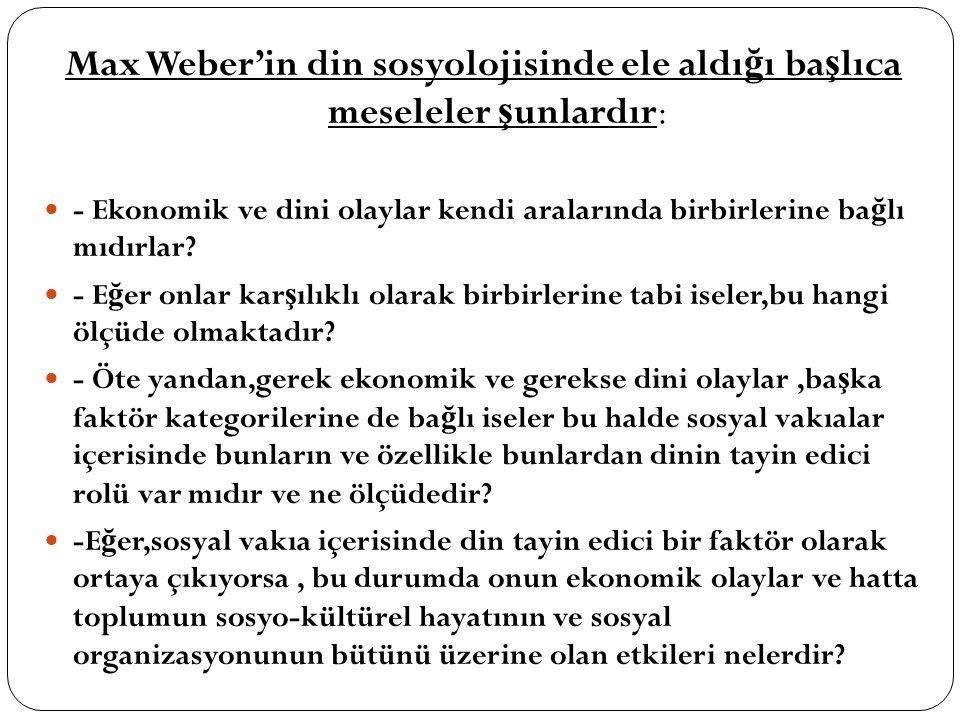 Max Weber'in din sosyolojisinde ele aldığı başlıca meseleler şunlardır:
