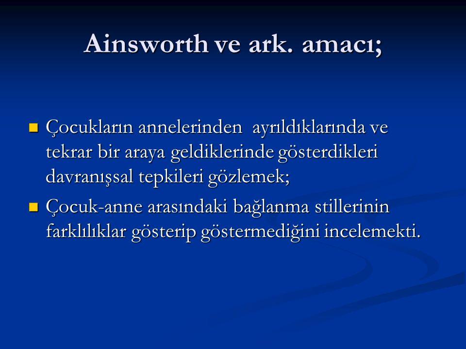 Ainsworth ve ark. amacı;