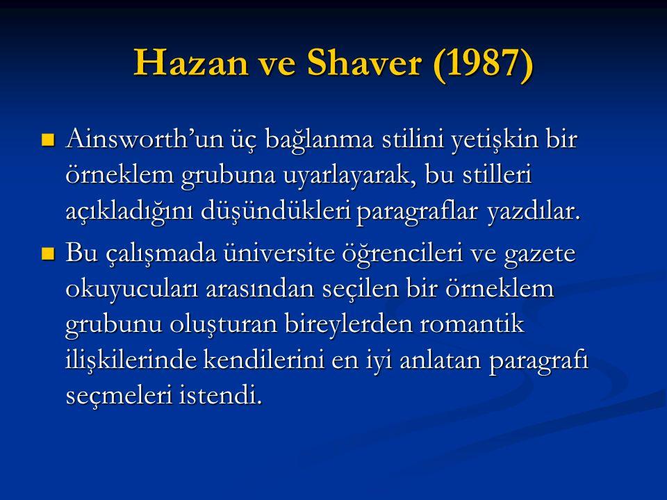 Hazan ve Shaver (1987)