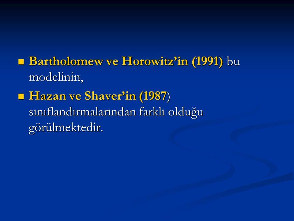 Bartholomew ve Horowitz'in (1991) bu modelinin,