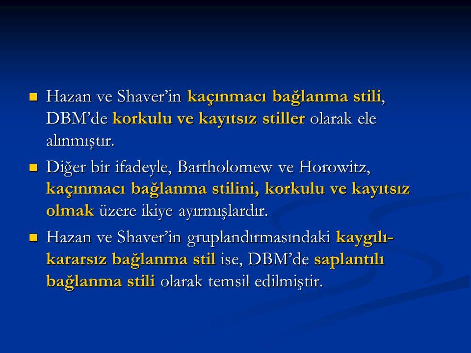 Hazan ve Shaver'in kaçınmacı bağlanma stili, DBM'de korkulu ve kayıtsız stiller olarak ele alınmıştır.