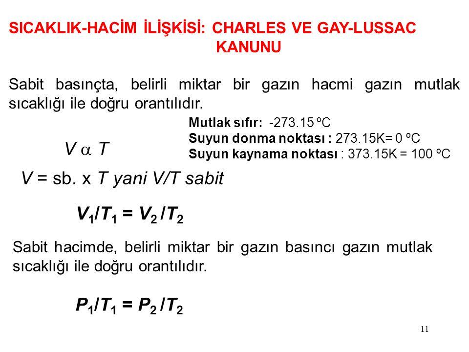 V a T V = sb. x T yani V/T sabit V1/T1 = V2 /T2 P1/T1 = P2 /T2