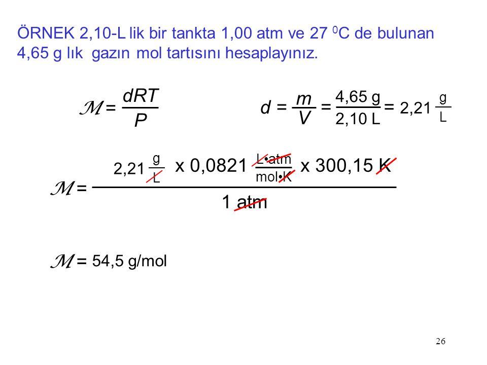 dRT P M = d = m V = = 2,21 1 atm x 0,0821 x 300,15 K M = M =