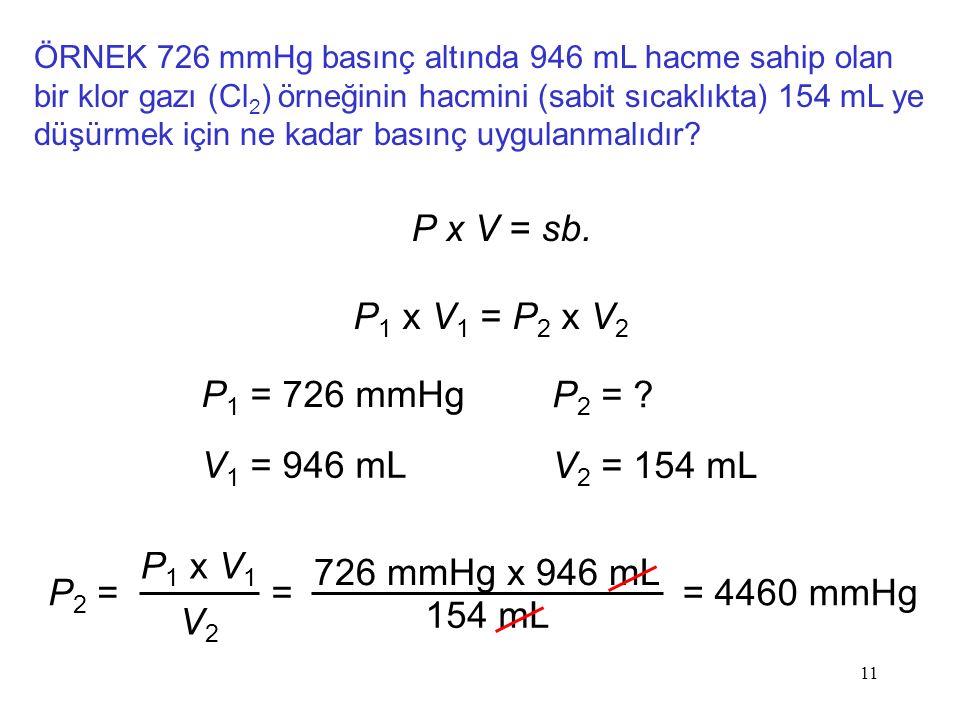 P x V = sb. P1 x V1 = P2 x V2 P1 = 726 mmHg P2 = V1 = 946 mL