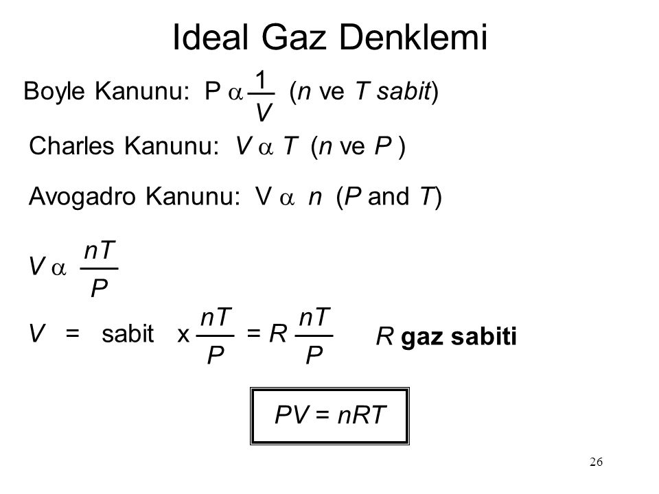 Ideal Gaz Denklemi 1 Boyle Kanunu: P a (n ve T sabit) V