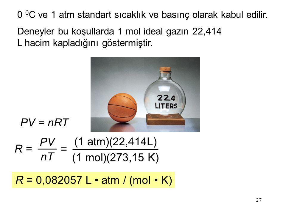 PV = nRT PV (1 atm)(22,414L) R = = nT (1 mol)(273,15 K)