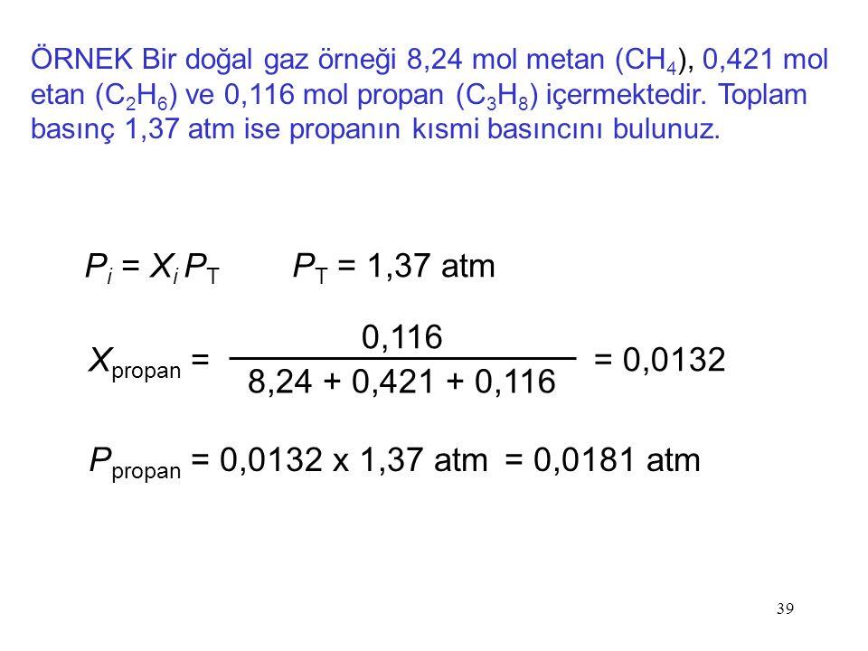 Pi = Xi PT PT = 1,37 atm 0,116 8,24 + 0,421 + 0,116 Xpropan = = 0,0132