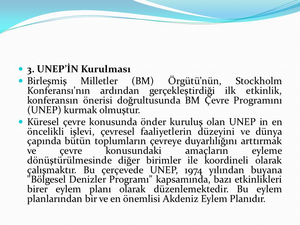 3. UNEP'İN Kurulması