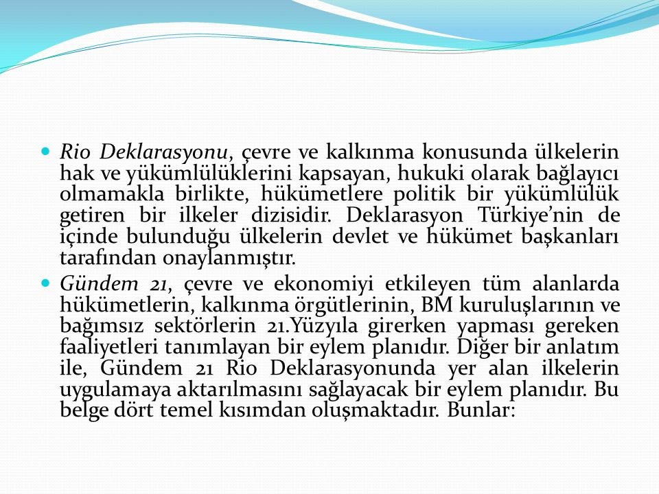 Rio Deklarasyonu, çevre ve kalkınma konusunda ülkelerin hak ve yükümlülüklerini kapsayan, hukuki olarak bağlayıcı olmamakla birlikte, hükümetlere politik bir yükümlülük getiren bir ilkeler dizisidir. Deklarasyon Türkiye'nin de içinde bulunduğu ülkelerin devlet ve hükümet başkanları tarafından onaylanmıştır.