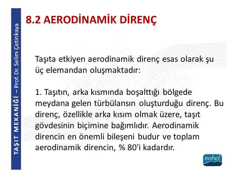 8.2 AERODİNAMİK DİRENÇ Taşıta etkiyen aerodinamik direnç esas olarak şu üç elemandan oluşmaktadır: