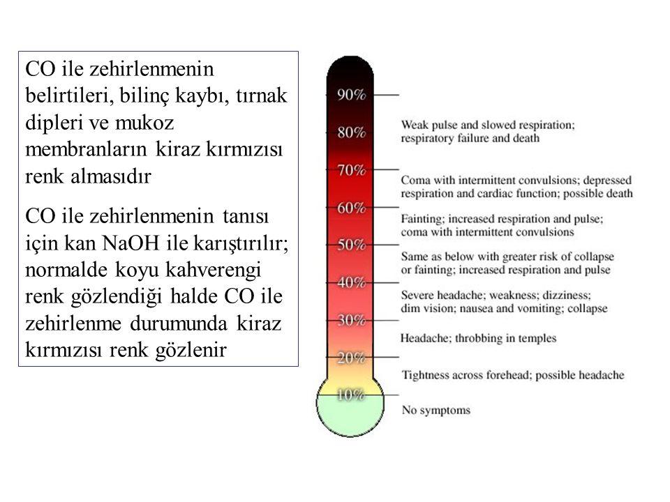 CO ile zehirlenmenin belirtileri, bilinç kaybı, tırnak dipleri ve mukoz membranların kiraz kırmızısı renk almasıdır