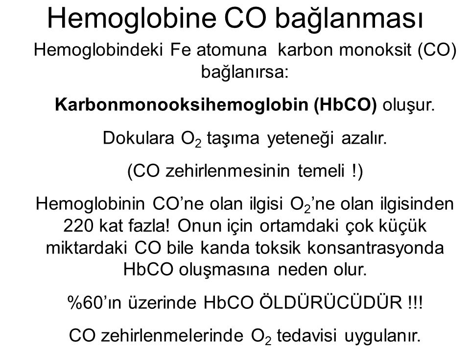 Hemoglobine CO bağlanması