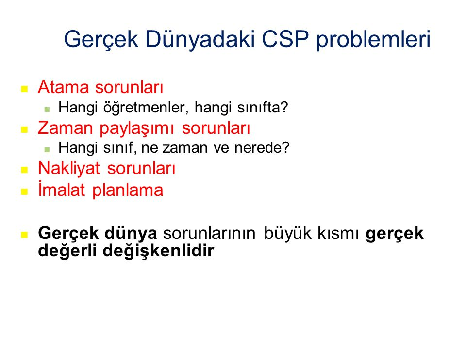 Gerçek Dünyadaki CSP problemleri
