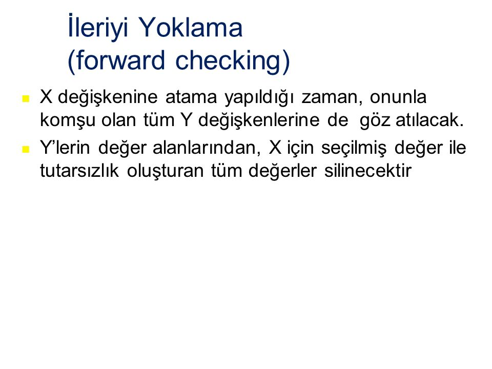 İleriyi Yoklama (forward checking)