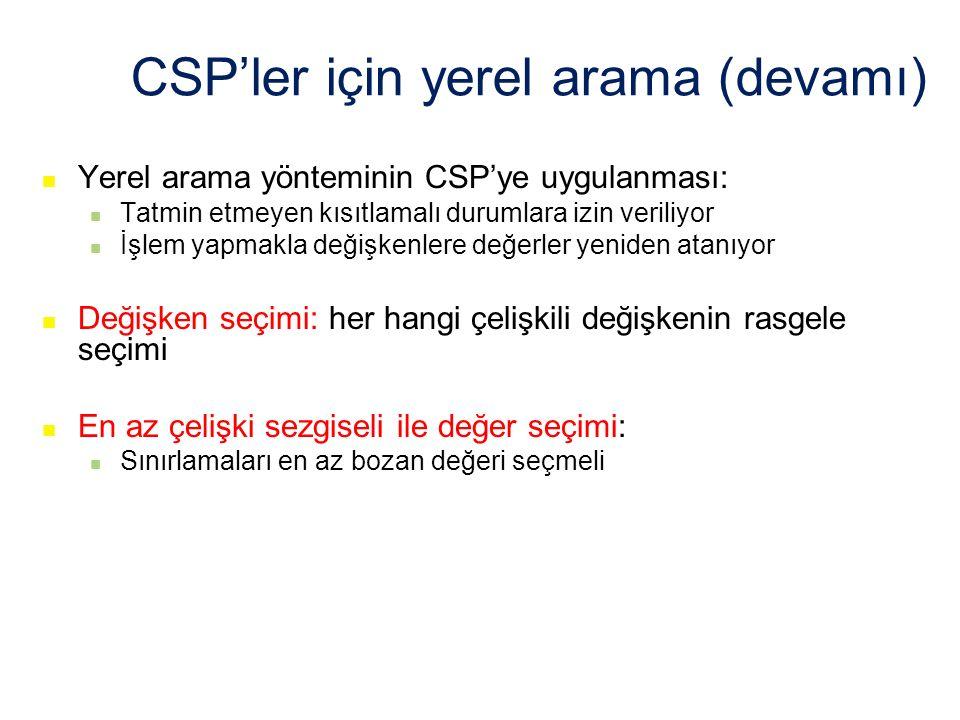 CSP'ler için yerel arama (devamı)