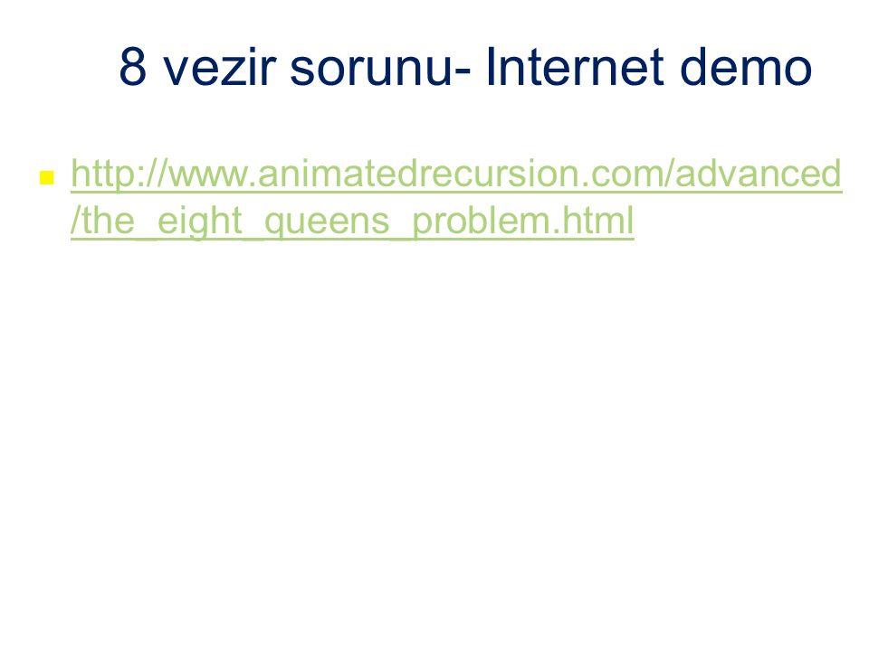 8 vezir sorunu- Internet demo