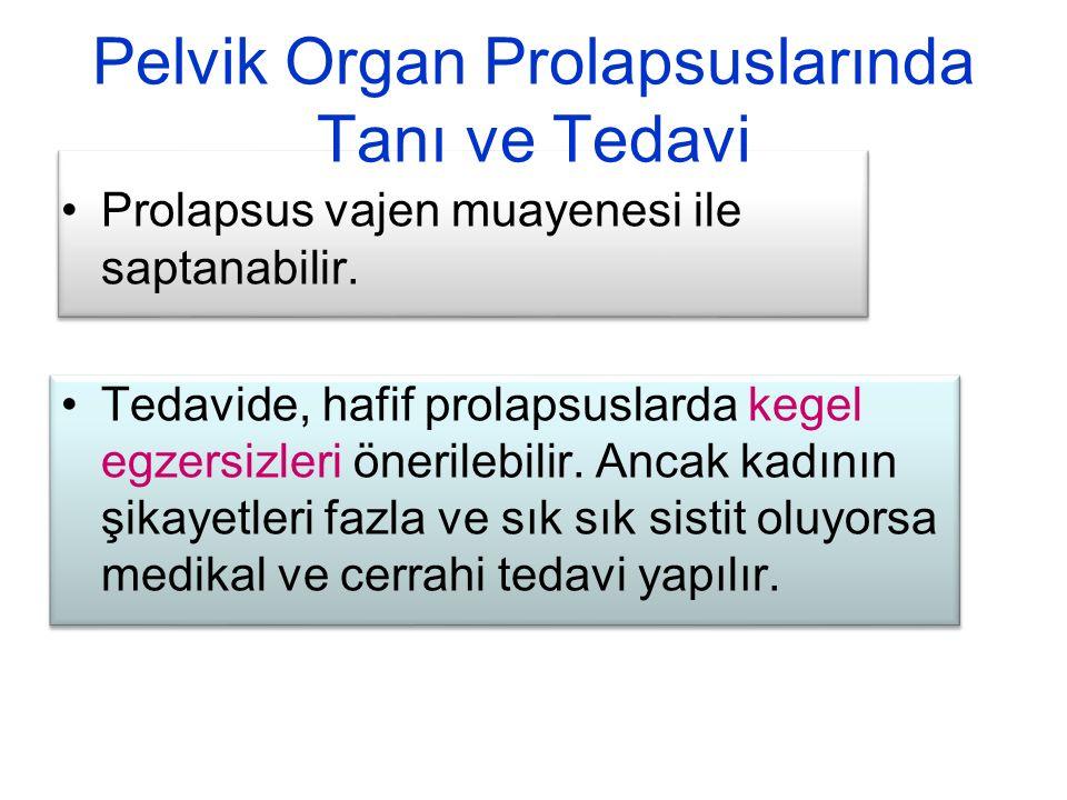Pelvik Organ Prolapsuslarında Tanı ve Tedavi
