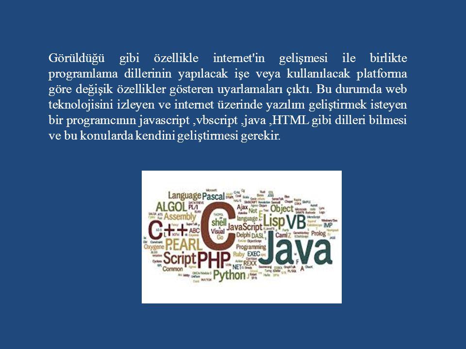 Görüldüğü gibi özellikle internet in gelişmesi ile birlikte programlama dillerinin yapılacak işe veya kullanılacak platforma göre değişik özellikler gösteren uyarlamaları çıktı.