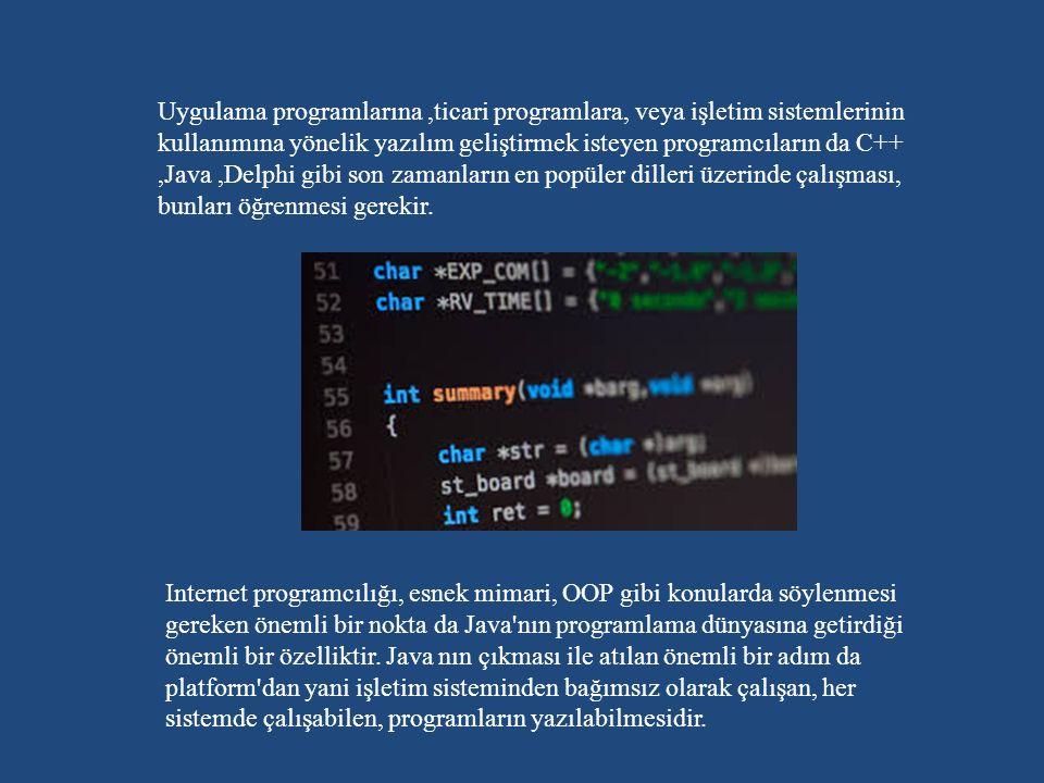 Uygulama programlarına ,ticari programlara, veya işletim sistemlerinin kullanımına yönelik yazılım geliştirmek isteyen programcıların da C++ ,Java ,Delphi gibi son zamanların en popüler dilleri üzerinde çalışması, bunları öğrenmesi gerekir.
