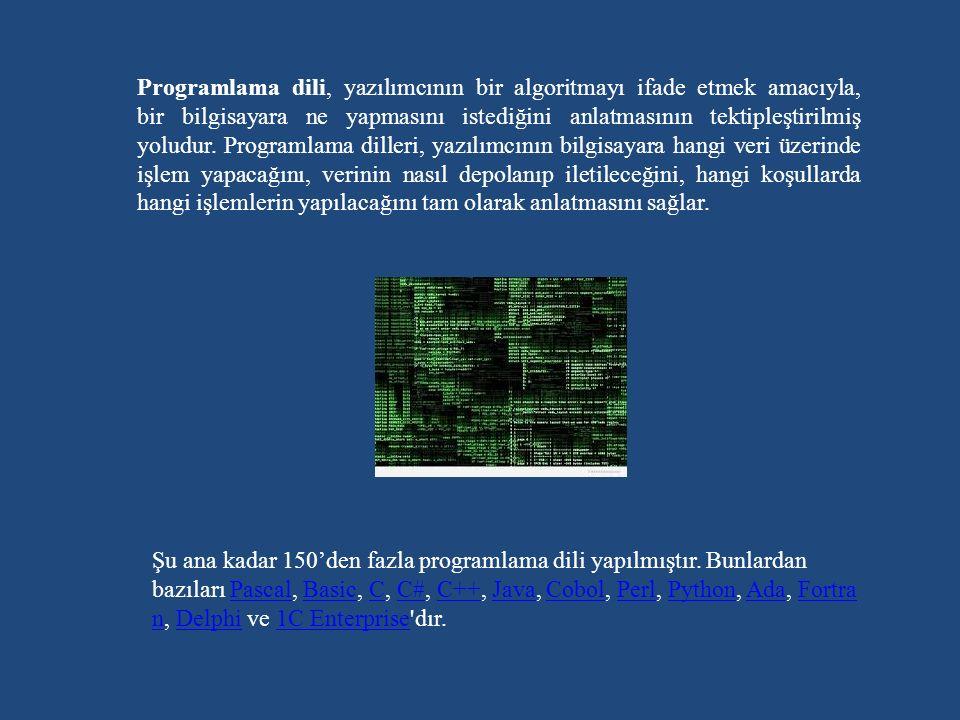 Programlama dili, yazılımcının bir algoritmayı ifade etmek amacıyla, bir bilgisayara ne yapmasını istediğini anlatmasının tektipleştirilmiş yoludur. Programlama dilleri, yazılımcının bilgisayara hangi veri üzerinde işlem yapacağını, verinin nasıl depolanıp iletileceğini, hangi koşullarda hangi işlemlerin yapılacağını tam olarak anlatmasını sağlar.
