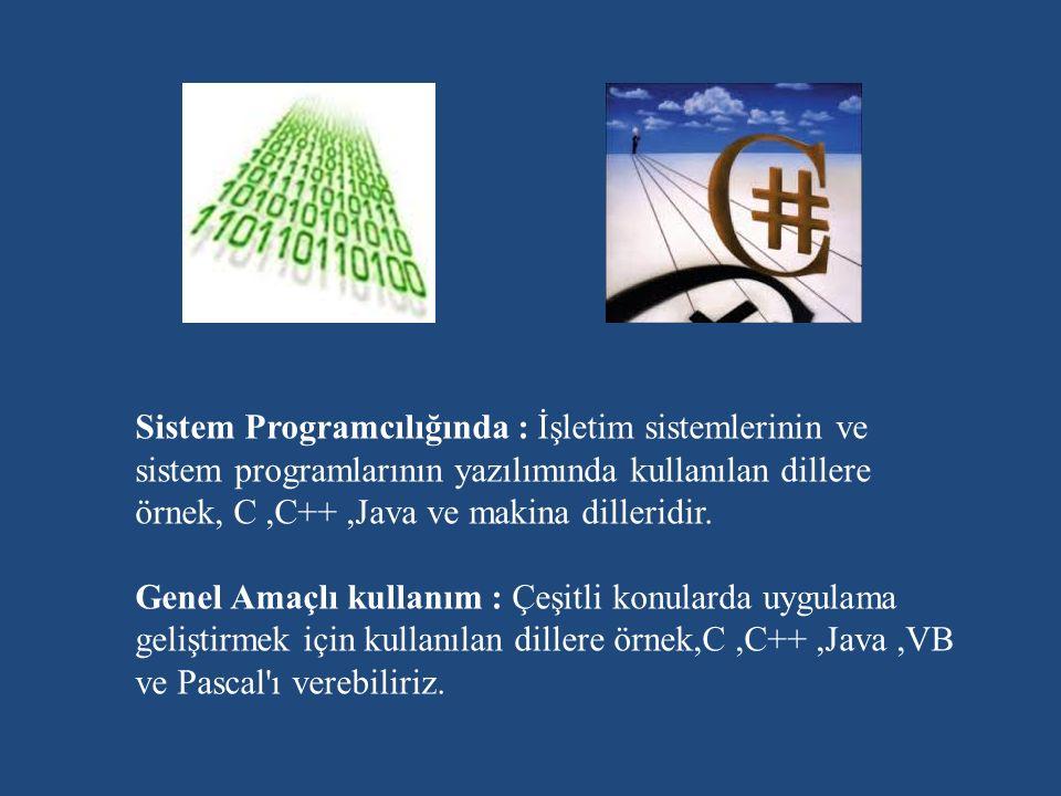 Sistem Programcılığında : İşletim sistemlerinin ve sistem programlarının yazılımında kullanılan dillere örnek, C ,C++ ,Java ve makina dilleridir.