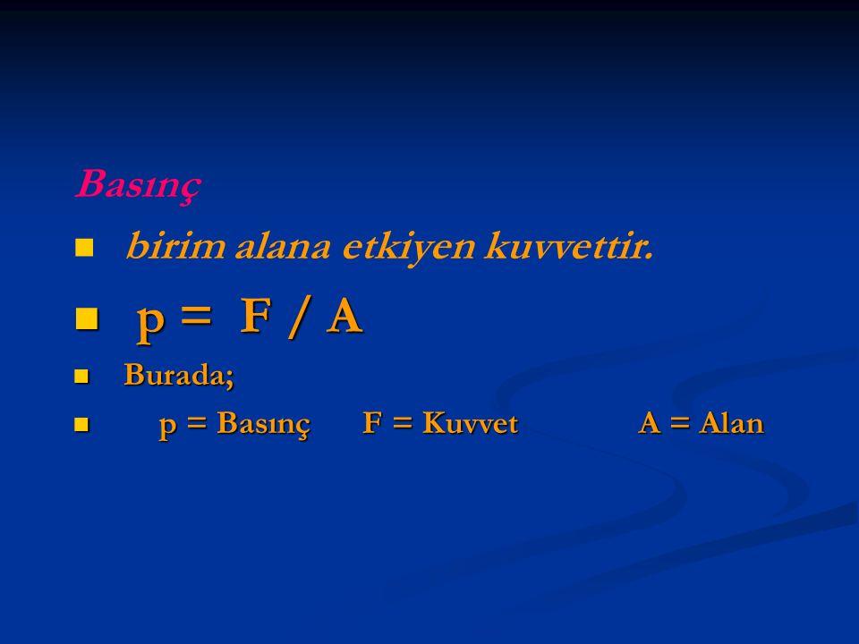 p = F / A Basınç birim alana etkiyen kuvvettir. Burada;