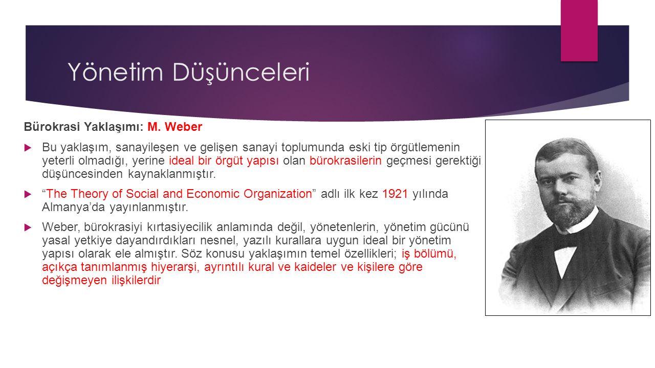 Yönetim Düşünceleri Bürokrasi Yaklaşımı: M. Weber