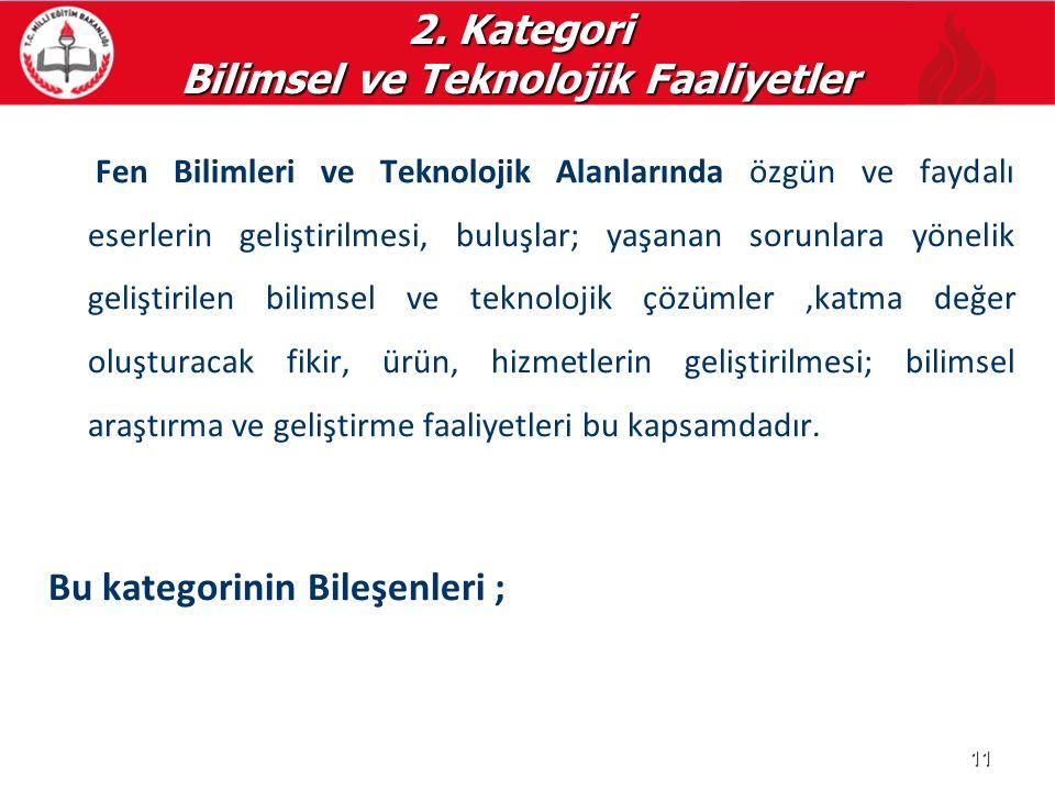 2. Kategori Bilimsel ve Teknolojik Faaliyetler