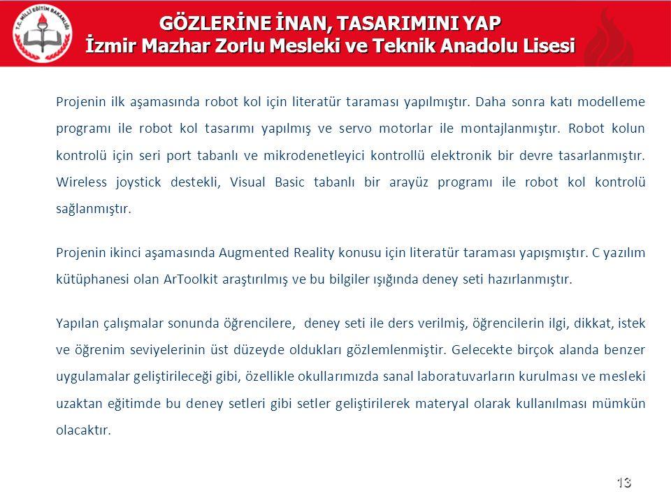GÖZLERİNE İNAN, TASARIMINI YAP İzmir Mazhar Zorlu Mesleki ve Teknik Anadolu Lisesi