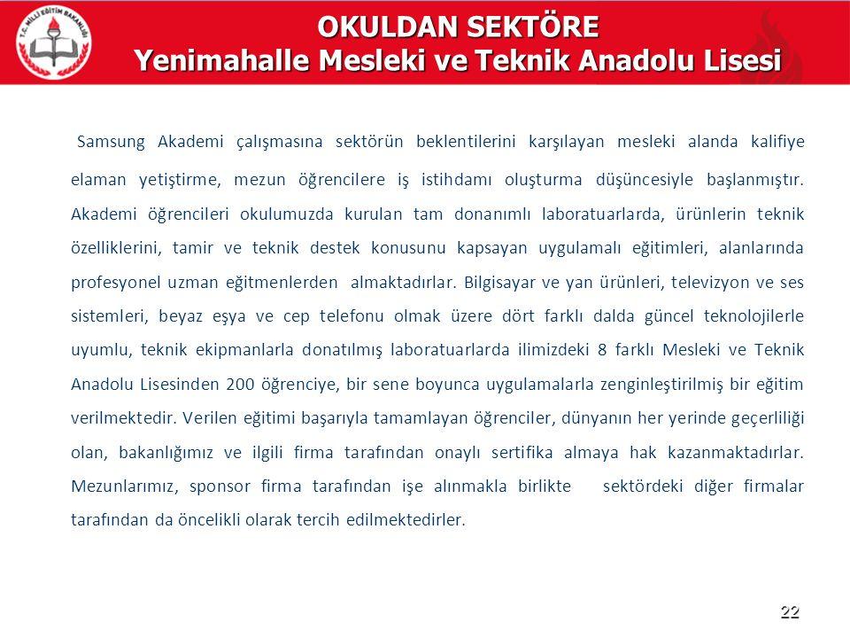 OKULDAN SEKTÖRE Yenimahalle Mesleki ve Teknik Anadolu Lisesi