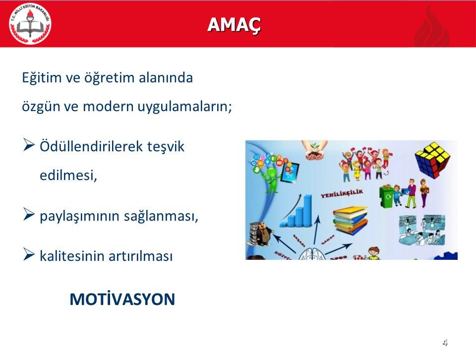 AMAÇ Eğitim ve öğretim alanında özgün ve modern uygulamaların;