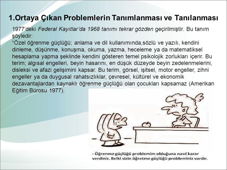 1.Ortaya Çıkan Problemlerin Tanımlanması ve Tanılanması