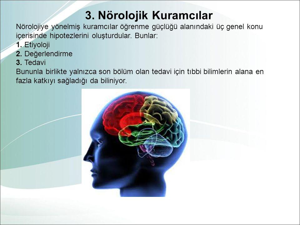 3. Nörolojik Kuramcılar Nörolojiye yönelmiş kuramcılar öğrenme güçlüğü alanındaki üç genel konu. içerisinde hipotezlerini oluşturdular. Bunlar: